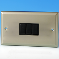 Varilight 3 Gang 1 or 2 Way 10A Rocker Light Switch (Twin Plate) Satin Chrome XN93B